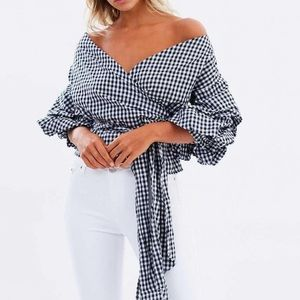 Lioness gingham wrap top